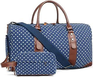 کیف مسافرتی Oflamn Duffle Canvas Leather Weekender مسافرت شبانه را بر روی کیف دستی با محفظه کفش و کیف لوازم آرایشی (نقاط سفید آبی) حمل کنید