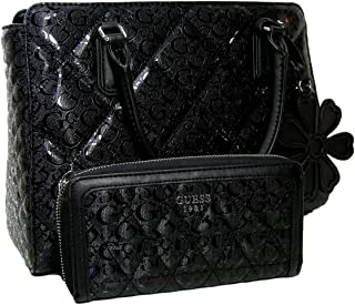 New Guess G Logo Purse Satchel Crossbody Hand Bag Black   Wallet Set 2 Piece ad73ffa507f98