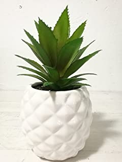 White Porcelain Pineapple Fake Plant Potted Artificial Succulent 7.8