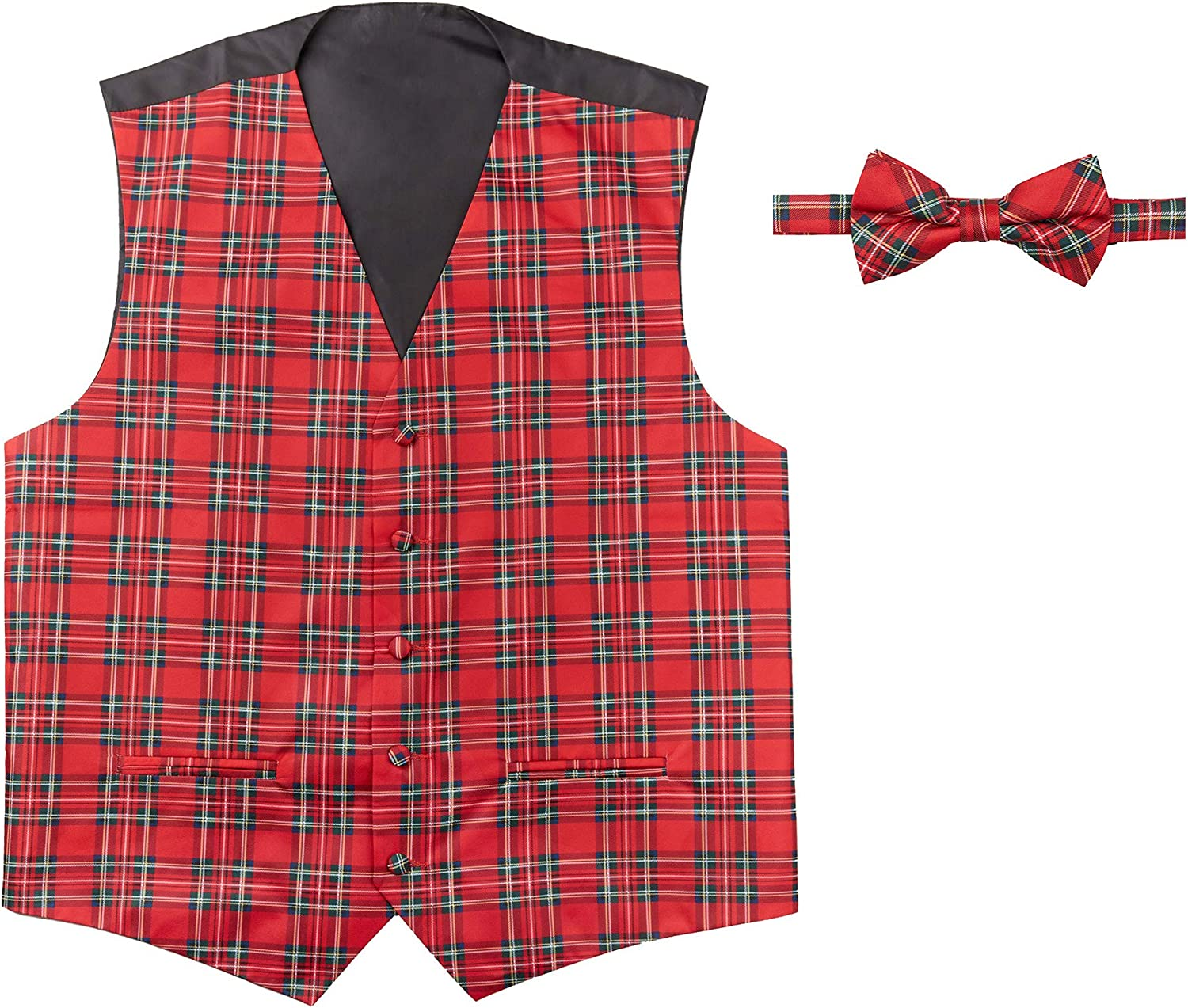 Jacob Alexander Red Christmas Plaid Men's Vest and Pre-Tied Banded Bow Tie Set