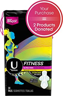 U by Kotex Fitness Ultra Thin Pads with Wings, Regular Absorbency, Fragrance-Free Pads, 30 Count