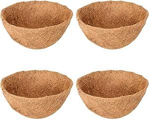 Halatool 4PCS 10 Inch Round Coco Liners Hanging Basket, 100% Natural Replacement Coconut Fiber Liner for Garden Flower Pot, Vegetables Herbs Pot