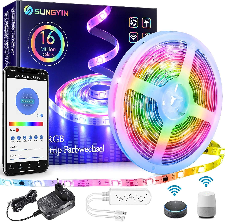 K/üche Schrankdeko SUNGYIN LED Strip DreamColor 5M RGBIC Smart Farbwechsel Musik Streifen Lichterkette mit Wifi Kontroller und APP//Alexa//Google Wasserdichte IP65 f/ür Zuhause