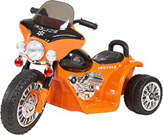 3 Wheel Mini Motorcycle Trike for Kids, Battery Powered Ride on Toy by Rockin ' Rollers – Toys for Boys and Girls, 2 - 5 Year Old - Police Car Orange