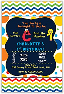 The Melange Market Custom Invitation - Sesame Street, Elmo, Big Bird, Primary Colors, Birthday, Shower