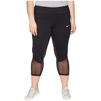 Nike Power Crop Racer Cool (Size 1X-3X) (Black/Black) Women