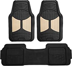 FH Group F11513 Car Floor Mats (3 pcs) Heavy Duty Rubber Floor Mats All-Weather Full Set Mats w, Universally Designed to fit All Trucks, Cars, SUVs, and Other Automobiles- Beige/Black