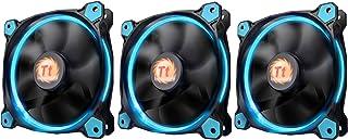Thermaltake Riing 12 - Ventilador de PC, paquete de 3 piezas (carcasa del ordenador, 12 cm, 1500 RPM, 24,6 dB, 40,6 cfm), color Negro, Azul