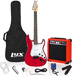 Best LyxPro 39 inch Electric Guitar Kit Bundle with 20w Amplifier, All Accessories, Digital Clip On Tuner, Six Strings, Two Picks, Tremolo Bar, Shoulder Strap, Case Bag Starter kit Full Size - Red Review