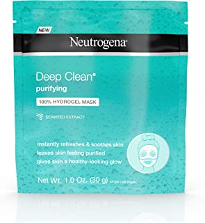 Neutrogena Deep Clean Purifying Hydrating 100% Hydrogel Face Mask, Oil-Free with Seaweed Extract 1 oz