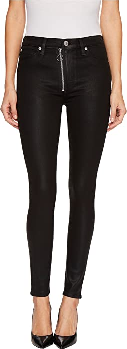 Hudson - Lexi High-Rise Skinny with Exposed Zipper in Black Coated