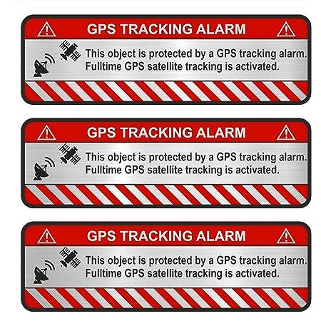 Finest Folia 3x Gps Aufkleber Fahrrad Motorrad Auto Alarm Warnung Anti Diebstahl Sticker Tracker Gesichert R057 Weiß Object Auto