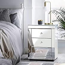 Artiss Mirrored Bedside Table Sofa Side Table, Silver