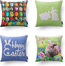 Phantoscope Set of 4 Decorative Spring White Rabbits and Colorful Eggs Throw Pillow Case Cushion Cover 18 x 18 45 x 45 cm