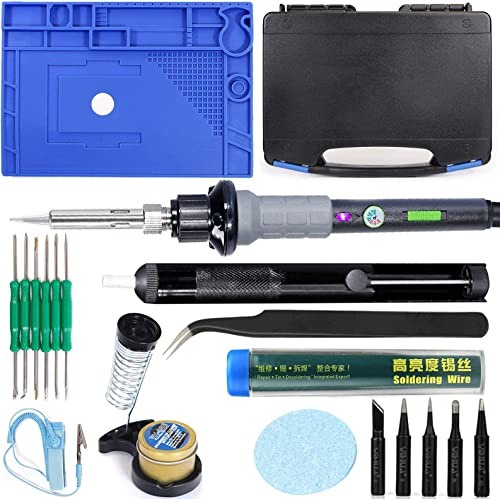 """discount YIHUA 947-V Hand Soldering Iron Kit bundle with 17.32"""" x 12.20"""" M180 Electronic Repair Mat (assistive hand tools included) with Iron Holder, outlet online sale Cleaning Kit, and online Accessories (21 Items) online"""