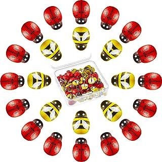 60 Pieces Wooden Bees Thumb Tacks Wood Bee Shaped Pushpins Cute Animal Decorative Push Pins for Photos Wall, Maps, Bulleti...