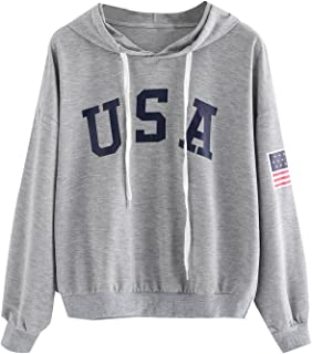6d54069cbf4c SweatyRocks Women s USA Flag Printed Sweatshirt Long Sleeve Pullover Hoodies  Crop Top for Girl