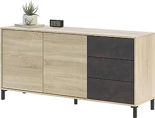 Habitdesign 0X6623F - Mueble aparador Modelo Brooklyn Melamina Roble Canadian y oxido Medidas: 154 cm (Ancho) x 74 cm ...