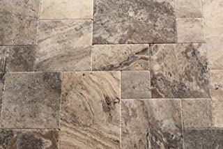 Silver Travertine Versailles / Ashlar Pattern Tiles, Unfilled / Brushed & Chiseled (Small Sample)