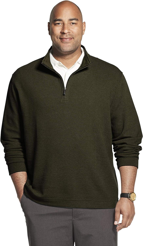 Van Heusen Men's Big and Tall Never Tuck Long Sleeve 1/4 Zip Solid