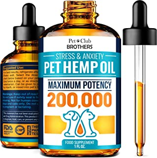 Hemp Oil for Dogs and Cats - Premium Hemp Oil Drops 200,000 Made in USA - Calming Aid for Stress & Anxiety Relief - Pet Re...