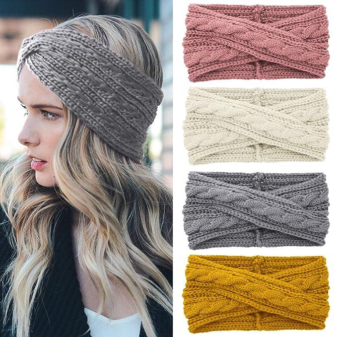 Realdo Womens Ear Warmer Headband Winter Fashion Cable Knit Twist Elastic Turban Head Wraps Cute Hair Band Accessories