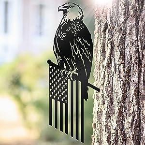 OLADOT Metal Freedom Eagle Steel Silhouette, Steel Branch Bird Decoration, Steel Bird Statue, Metal Art, Tree Art, Backyard Art, Tree Branch Art for Garden Decoration Creative Gift
