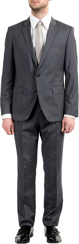 Hugo Boss Huge5/Genius3 Men's 100% Wool Gray Plaid Two Button Suit US 40L IT 50L