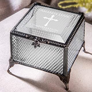 Confirmation Gift for Girl Personalized Keepsake Box Engraved Clear Textured Stained Glass Jewelry J Devlin Box 825 EB221