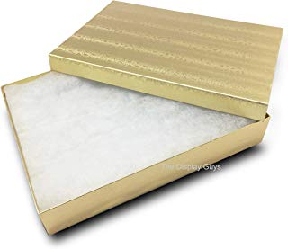 The Display Guys, Pack of 25 Gold 5 3/8x3 7/8x1 inches Cotton Filled Paper Jewelry Box Gift Display Case(#53)