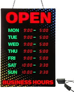 Artistic Open Sign with Business Hours, Black/Red Yellow/Blue Accents (34110), 26 x 18