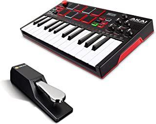 Beat Maker Bundle - Piano Style Keyboard/USB MIDI Controller with 138 Sounds and Sustain Pedal - Akai Pro MPK Mini Play + M-Audio SP-2