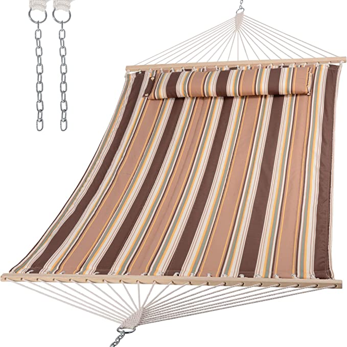 SUNCREAT 2 Person Outdoor Hammock - Best Backyard Hammock With a Sewn-in Head Pillow