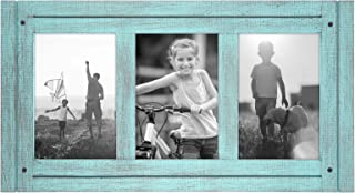 Americanflat 4x6 Turquoise Blue Collage Distressed Wood Frame - Made to Display 3 4x6 Photos - Ready to Hang - Ready to Stand - Built-in Easel
