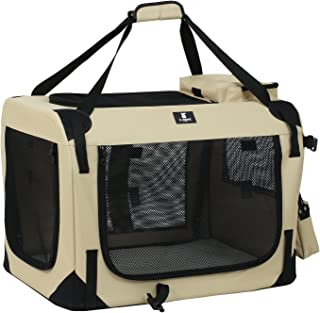 X-ZONE PET 3-Door Folding Soft Dog Crate, Indoor & Outdoor Pet Home, Multiple Sizes and Colors Available …
