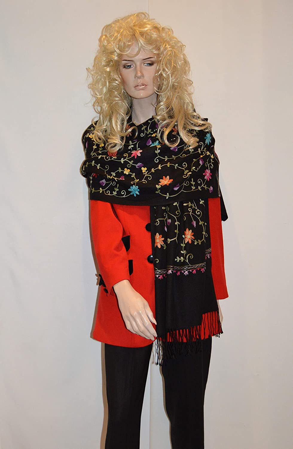 Cashmere Pashmina Group Scarf/Scarves/Shawl/Shawl with Crewel/Ari Embroidery Black