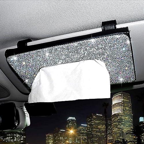 2021 ChuLian discount Bling Bling Car Sun Visor Tissue Box Holder,Crystal Sparkling new arrival Napkin Holder,PU Leather Backseat Tissue Case Car Accessories for Women,Black outlet sale