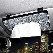 ChuLian Bling Bling Car Sun Visor Tissue Box Holder,Crystal Sparkling Napkin Holder,PU Leather Backseat Tissue Case Car Ac...