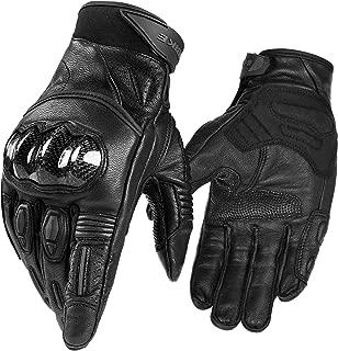 INBIKE Motorcycle Gloves, 3mm EVA Palm Pad Motorbike Gloves Genuine Leather Full Finger Black XX-Large