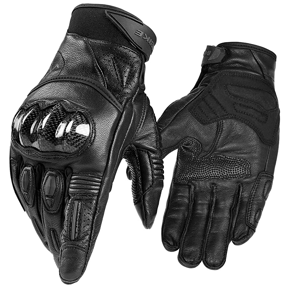 INBIKE Motorcycle Gloves Genuine Leather Full Finger with Touchscreen Hard Knuckle Carbon Fiber Protective Shell Durable for Road Racing Motorbike Outdoor Gloves Men Women IM808
