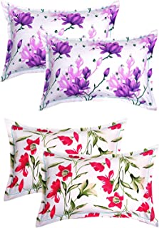 "BSB HOME® Cotton 4 Piece Cotton Pillow Cover Set - 20""x30"", White and Red"