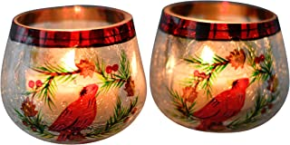 Home-X Crackle Glass Cardinal Votive Holders - Set of 2