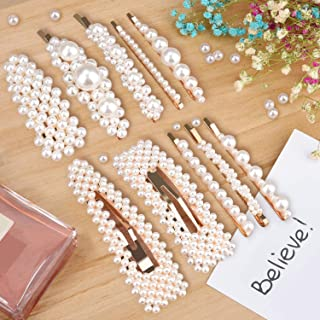 Pearls Hair Clips for Women Girls, Allucho 10pcs Fashion Gold Bows/Clips/Ties/Hairpins/Barrettes for Party Wedding (10 PCS pearl hair clips)