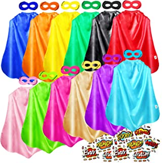 Superhero Capes, Bulk Pack for Kids Party, DIY Dress Up Superhero Costume, 12 Colors Sets with Superhero Stickers