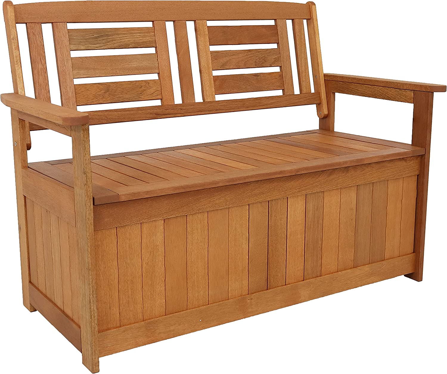 Sunnydaze Meranti Wood Outdoor Storage Bench with Teak Oil Finish - Outside Furniture Seating for Patio, Garden, Deck, Porch and Balcony - Backyard Yard and Lawn Organizer - 51-Inch