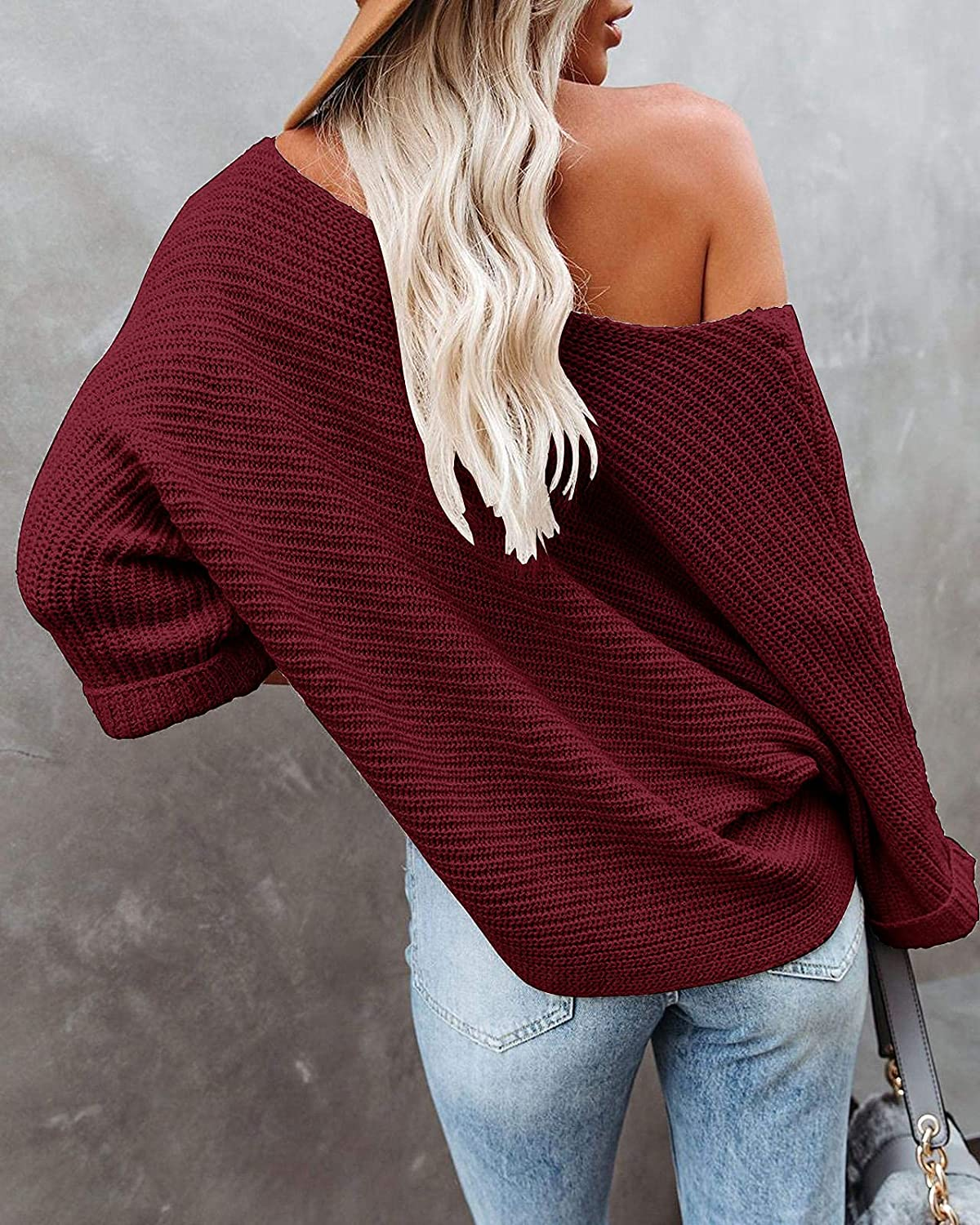KIRUNDO Women's Off Shoulder Sweaters Batwing 3/4 Sleeves Casual Loose Fit Solid Pullovers Knit Jumper