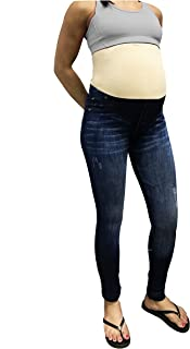Denim Print Fake Jeans, Seamless Full Length Leggings