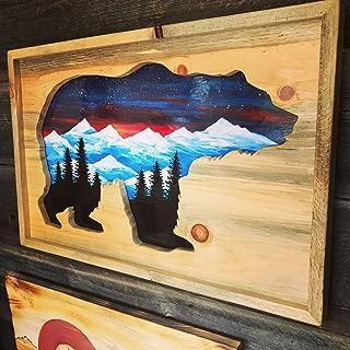Colorado Ski Furniture Bear Mountain Mural -Hand Painted Oil - Reclaimed Beetlekill Wall Art
