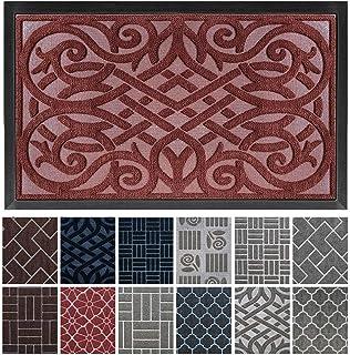 gb Home Collection Doormat, 18 x 30, Burgundy, Indoor Outdoor Door Mat, Low Profile Entry Mat