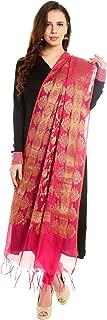 Women's Benarasi Silk Woven Dark Pink & Gold dupatta